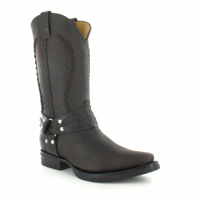Grinders 105 Galveston Mens Leather Cowboy Boots - Dark Brown