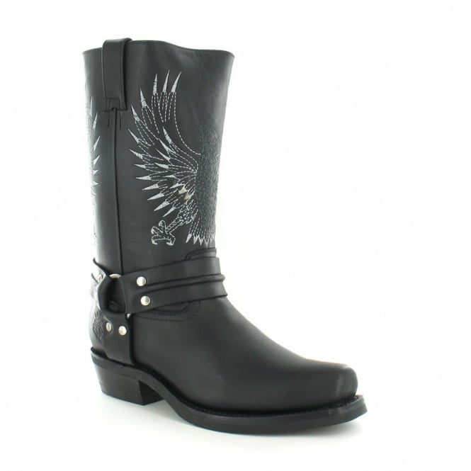 Grinders 283 Bald Eagle Mens Leather Cowboy Boots - Black