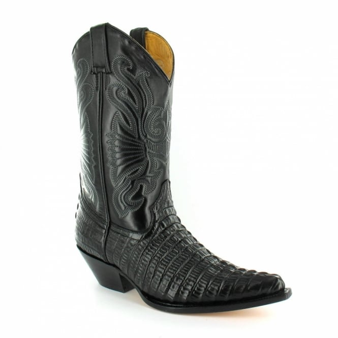 Grinders Carolina 268 Mens Crocodile Tail Leather Cowboy Western Mid-calf Boots - Black