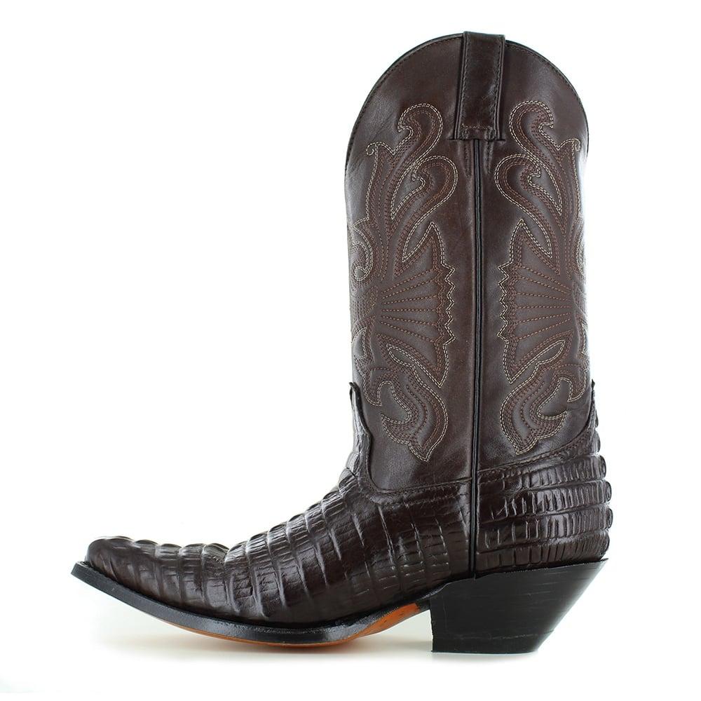 4c212f5f4b7b89 Grinders Carolina 268 Mens Crocodile Tail Leather Cowboy Western Mid-calf  Boots - Dark Brown