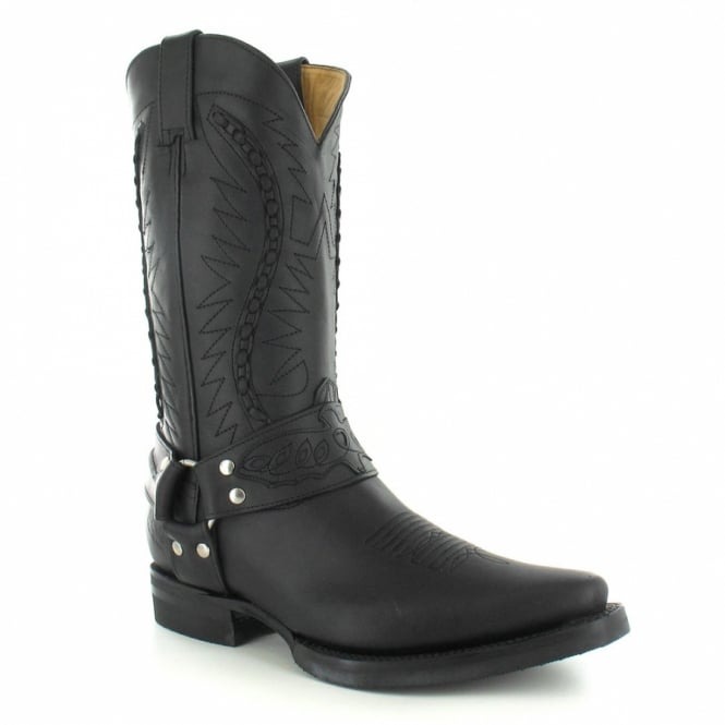 Grinders 105 Galveston Mens Leather Cowboy Boots - Black