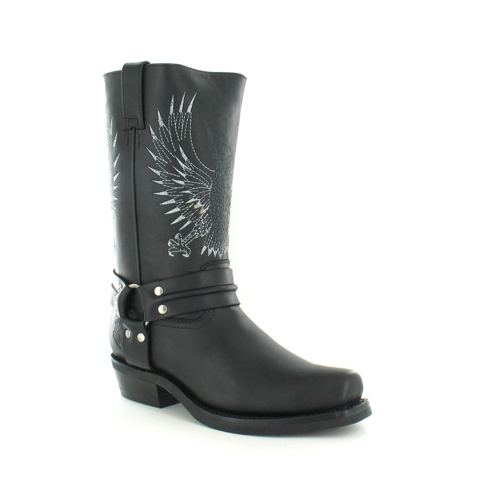 Grinders 283 Bald Eagle Mens Leather Cowboy Boots In Black