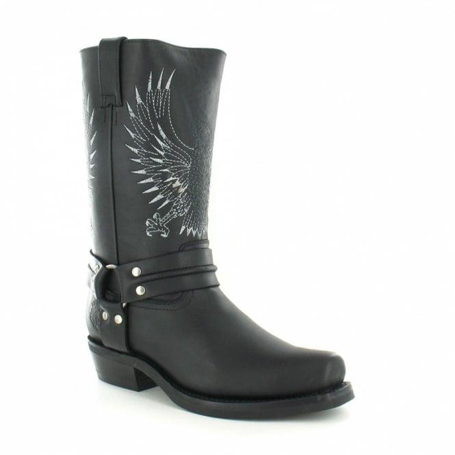 Grinders 283 Bald Eagle Mens Leather Cowboy Boots - Black