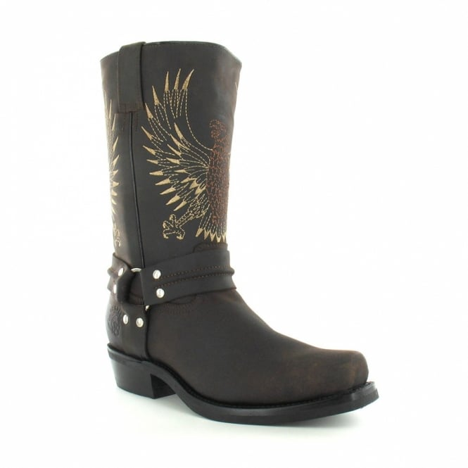 Grinders 283 Bald Eagle Mens Leather Cowboy Boots - Dark Brown
