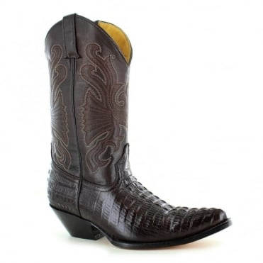 Grinders Carolina 268 Mens Crocodile Tail Leather Cowboy Western Mid-calf Boots - Dark Brown