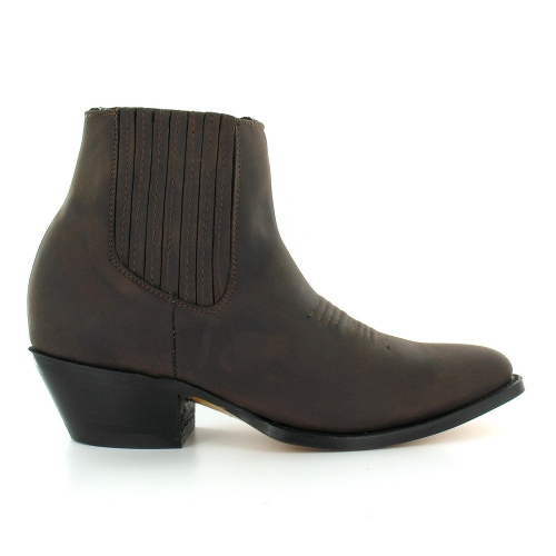 Grinders Maverick Mens Leather Western Cowboy Ankle Boots - Dark Brown