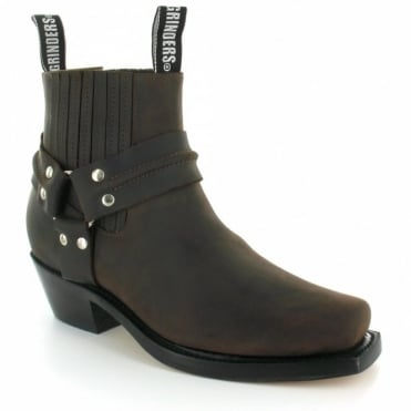 Grinders Harness Lo Mens Leather Cowboy Western Pull-On Ankle Boots - Dark Brown