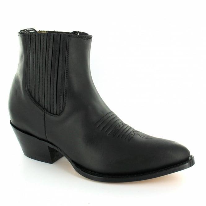 Grinders Maverick Mens Leather Western Cowboy Ankle Boots - Black