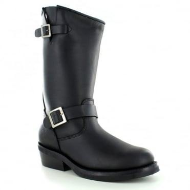 Rebel Womens Leather Mid-Calf Biker Boots - Black