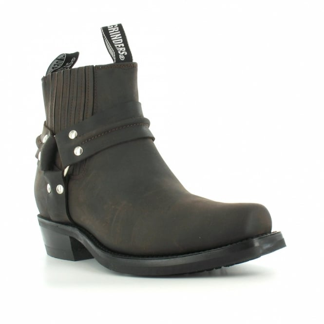Grinders Renegade Lo Mens Leather Western Cowboy Pull-On Ankle Boots - Dark Brown