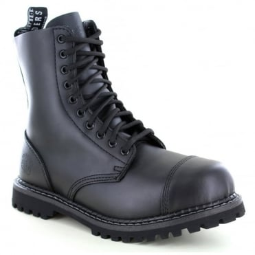 Grinders Stag Unisex Leather Steel Toe 10-Eyelet Fashion Boots - Black