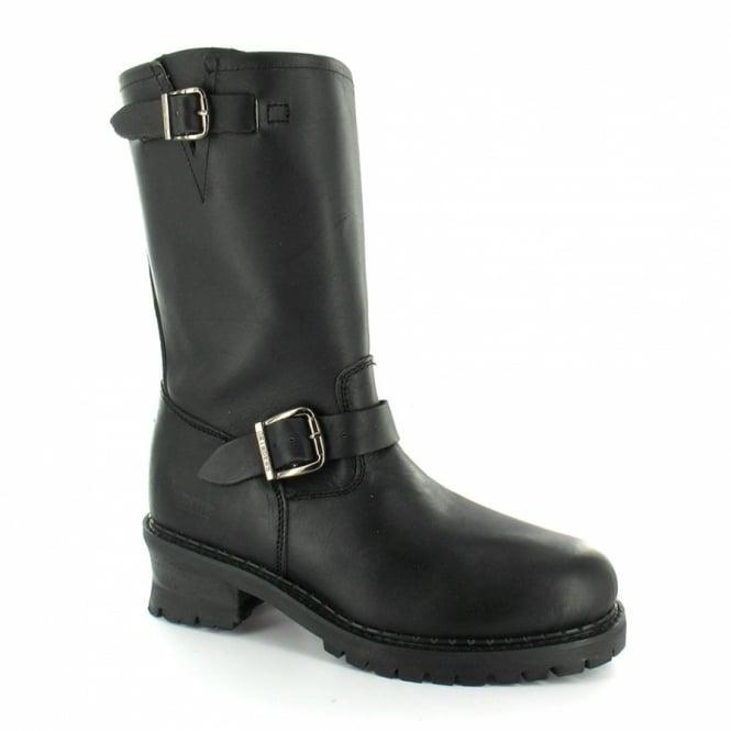 b5490d01fc1 Wild One Engineer Mens Leather Steel Toe-cap Mid-calf Biker Boots - Black