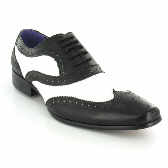 mens black and white brogues