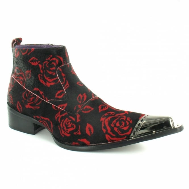 ee298c8bcb8 Gucinari B268-39 Mens Hair-On Leather Roses Metal Toe-Cap Ankle Boots