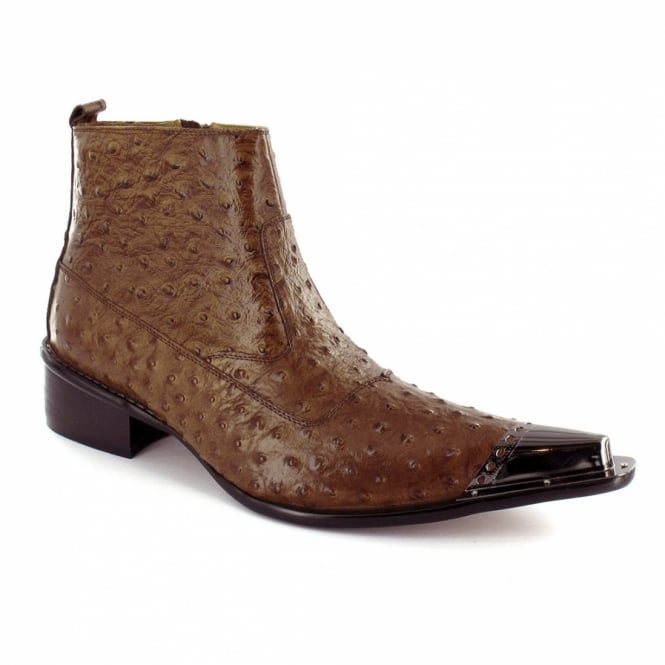 5c5b3bddb69 Mens Premium Speckled Leather Designer Toe-cap Ankle Boots - Brown