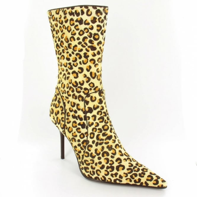 0fb598b9e17ea5 Gucinari Womens Designer Pony Hair Mid-calf Stilletto Boots - Leopard