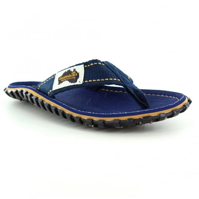 Gumbies Islander Mens Canvas Toe Post Flat Sandals - Dark Denim