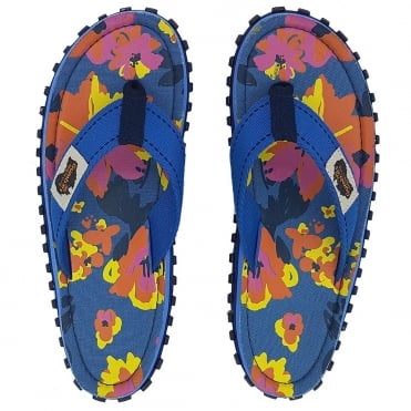 Gumbies Islander Womens Canvas Toe Post Flat Sandals - Blue Floral