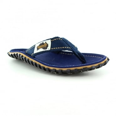 Gumbies Islander Womens Canvas Toe Post Flat Sandals - Dark Denim