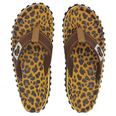 Gumbies Islander Womens Canvas Toe Post Flat Sandals - Leopard Print