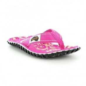 Gumbies Islander Womens Canvas Toe Post Flat Sandals - Pink Hibiscus