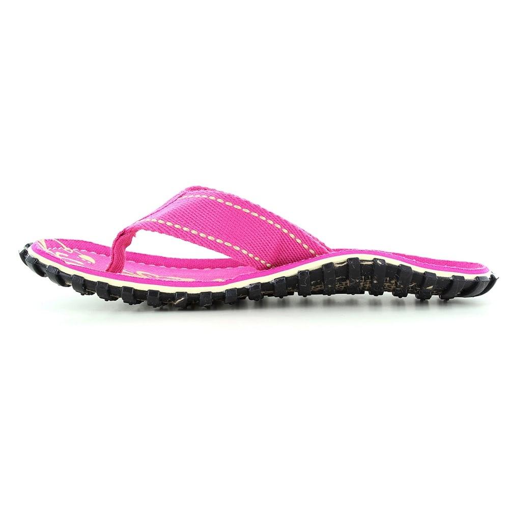 65021ef2d78ecc Gumbies Islander Womens Canvas Toe Post Flat Sandals in Pink Hibiscus