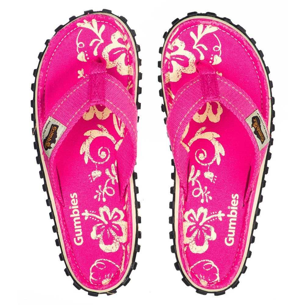 93df3f40c0db Gumbies Islander Womens Canvas Toe Post Flat Sandals in Pink Hibiscus