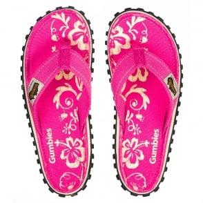 00e85aefda68c Gumbies Islander Womens Canvas Toe Post Flat Sandals - Pink Hibiscus