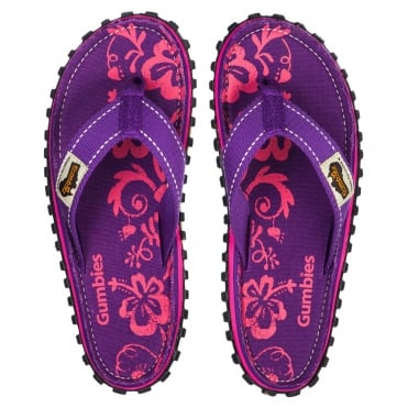 Gumbies Islander Womens Canvas Toe Post Flat Sandals - Purple