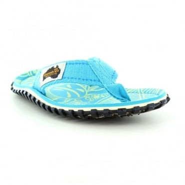 Gumbies Islander Womens Canvas Toe Post Flat Sandals - Turquoise Pattern