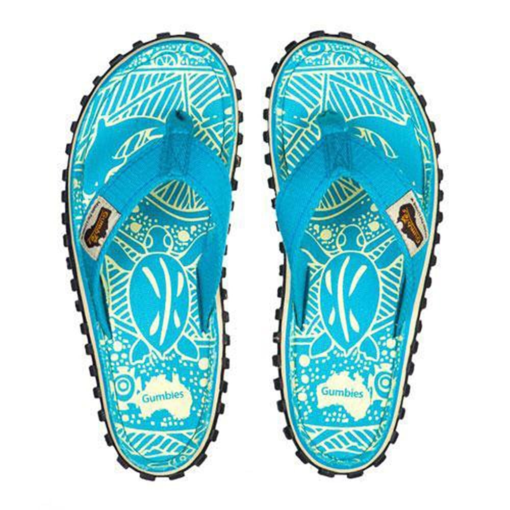 ab94dd9b97cc Gumbies Islander Womens Canvas Toe Post Flat Sandals - Turquoise Pattern