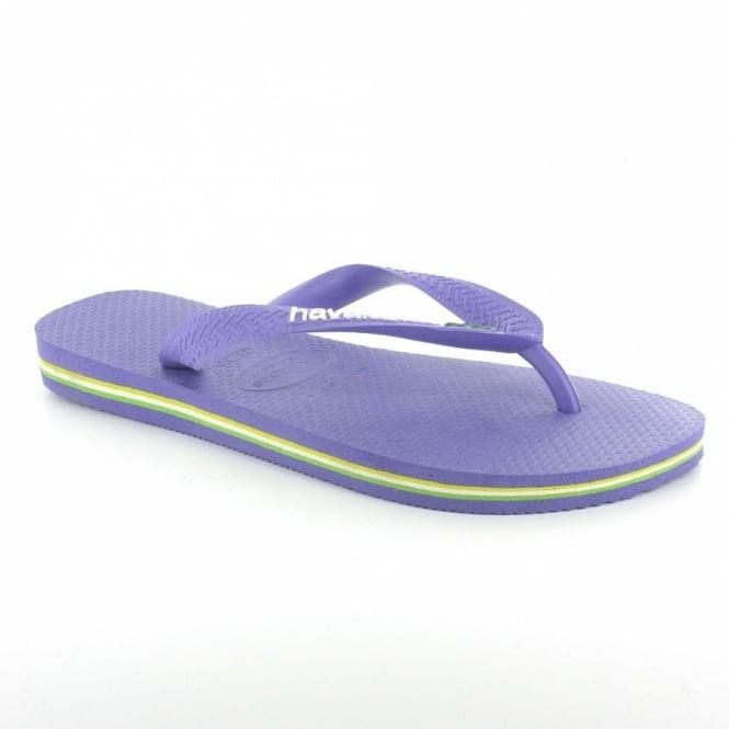 270010b5d5f4f5 Havaianas Brasil Logo Womens Flip Flops - Purple - Sandals from ...