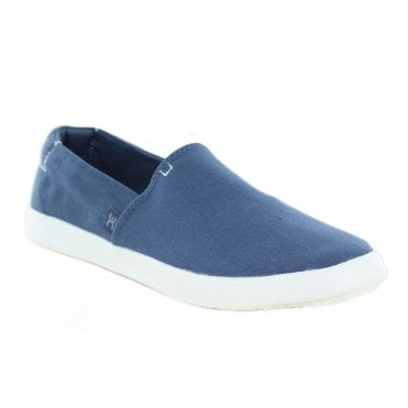 Hey Dude Carly Stretch Womens Canvas Slip-On Shoes - Steel Blue