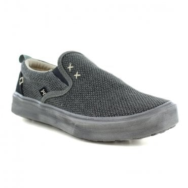HEY DUDE Flip Braided Mens Casual Canvas Slip-On Shoes - Black