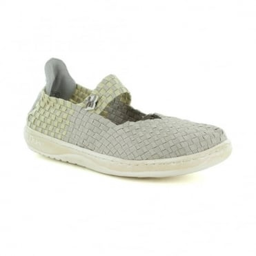 Hey Dude E-Last Womens Mary Jane Slip-On Shoes - Beige Glitter
