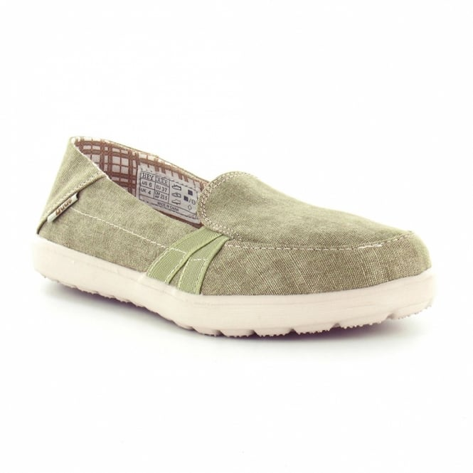 Hey Dude Parma Womens Canvas Slip-On Shoes - Beige