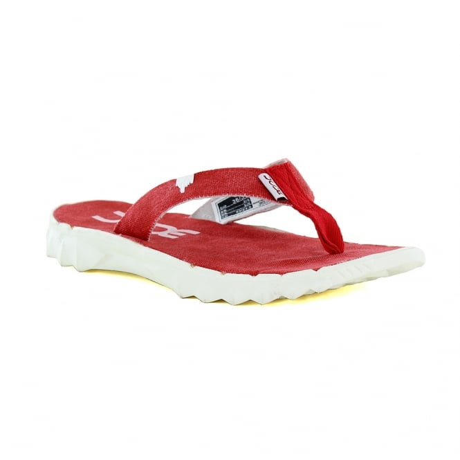 Hey Dude Sava Womens Canvas Toe Post Sandals - Red