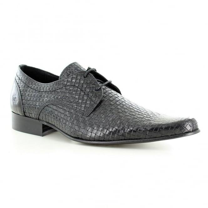 Ikon Buckler Mens Leather 2-Eyelet Lace-Up Shoes - Black
