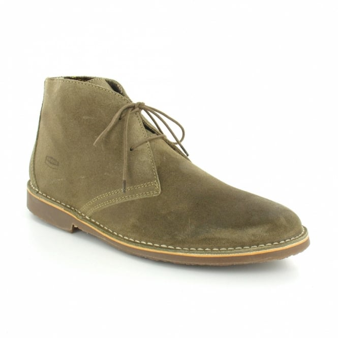 Ikon Gobi Mens Suede Leather 2-Eyelet Desert Boots - Dark Beige