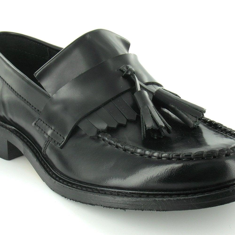 de41aeb5c63a6 Ikon Selecta Mens Leather Tassel Loafers - Black