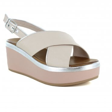 Inuovo 8679 Womens Leather Sandal - Blush/Silver