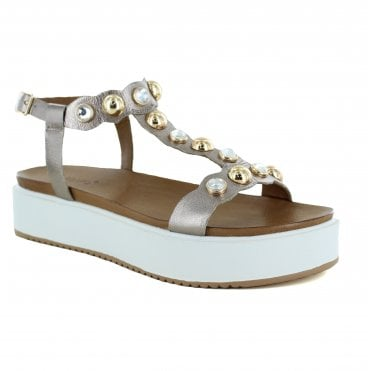 Inuovo 8733 Womens Leather Sandal - Pewter