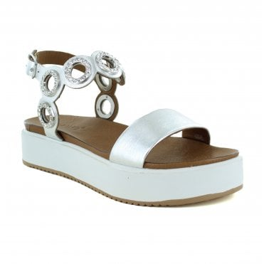 Inuovo 8741 Womens Leather Sandal - Silver