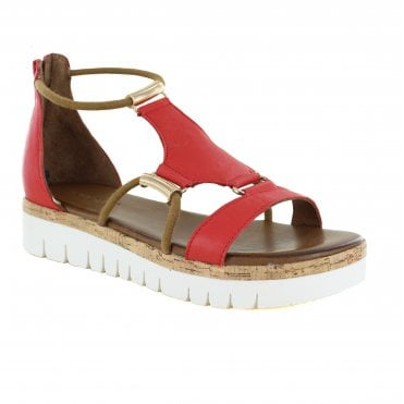 Inuovo 8979 Womens Leather Sandals - Red