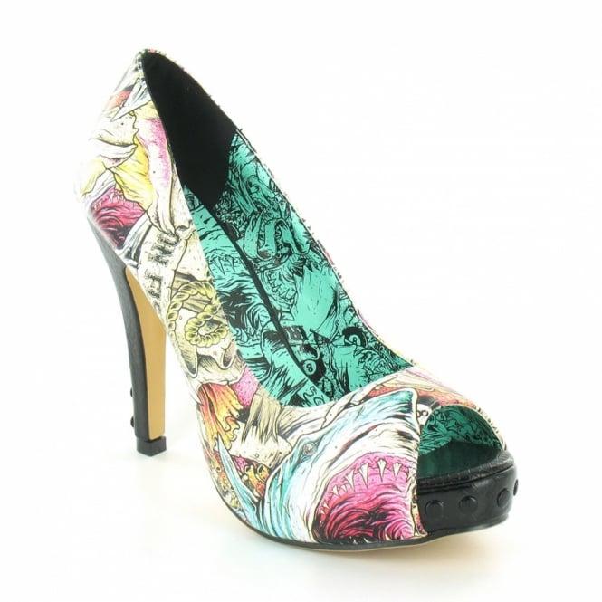 Here I Lie Womens High Heel Peep Toe Platform Court Shoes White, Pink & Blue