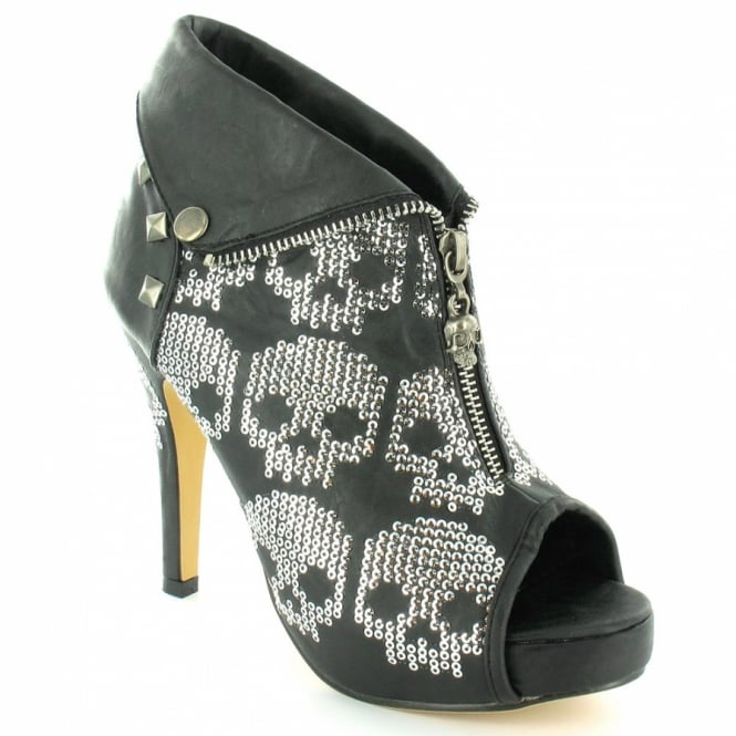 48f91178c Iron Fist Ruff Rider Womens PU High Heel PLatform Sequin PeepToe Ankle Boots  - Black +