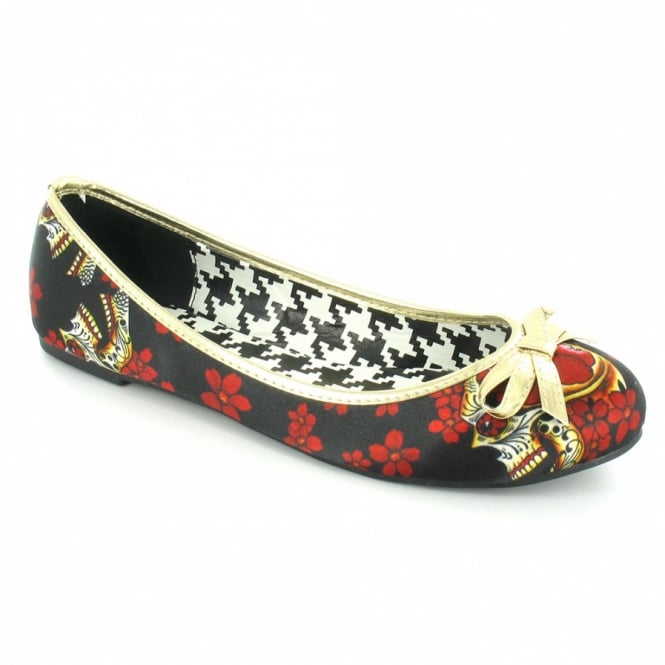 Iron Fist Slow Dance Flat Womens Slip-on Flower Skull Shoes (IFLFLT10467F12001) - Black, Red + Gold