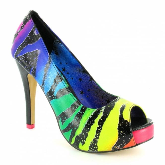 Iron Fist Zebracorn Womens Rainbow Zebra Platform Stiletto Heels - Black + Multi Colour