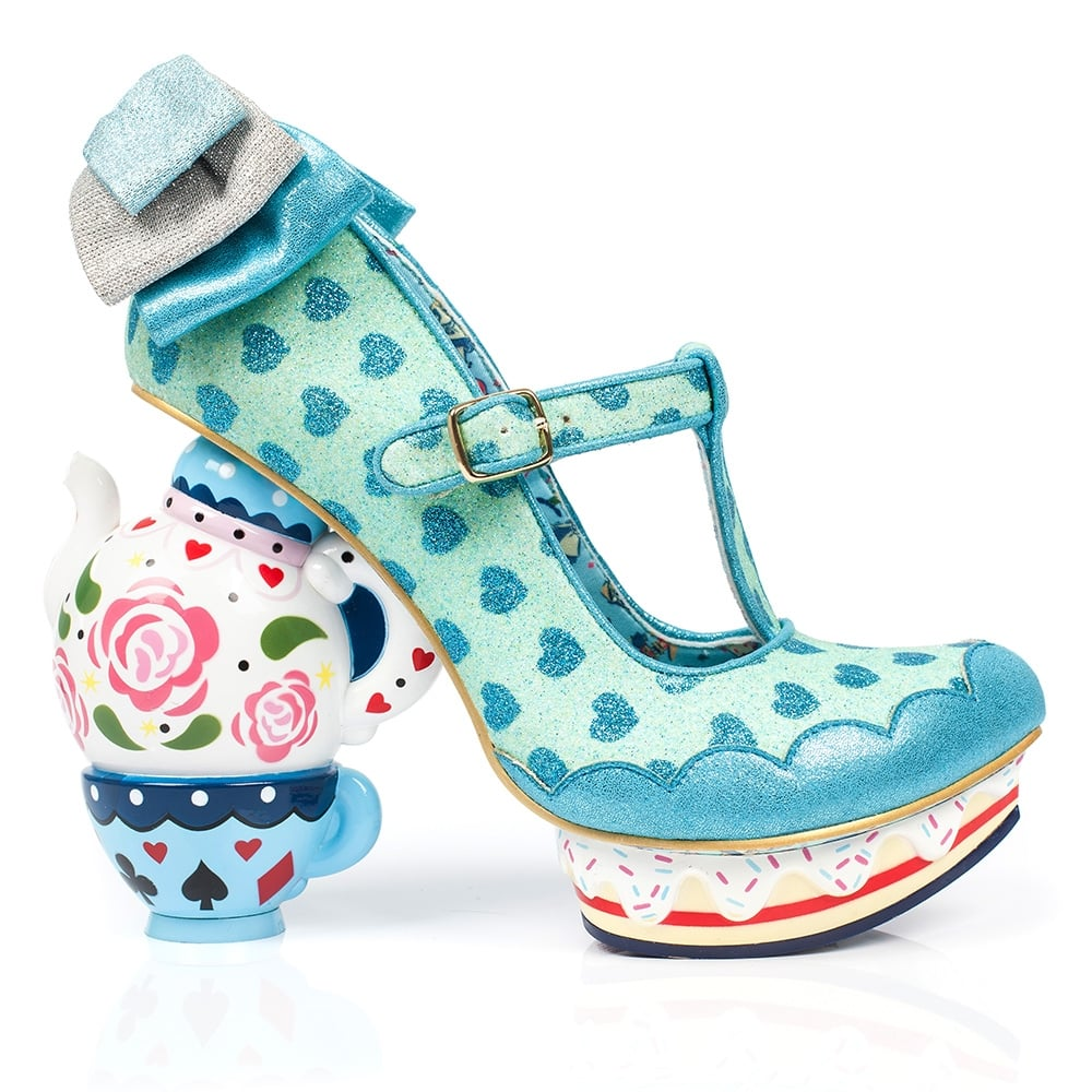 irregular choice alice in wonderland 2 4296 3b my cup of tea womens tea pot high heel shoes blue. Black Bedroom Furniture Sets. Home Design Ideas