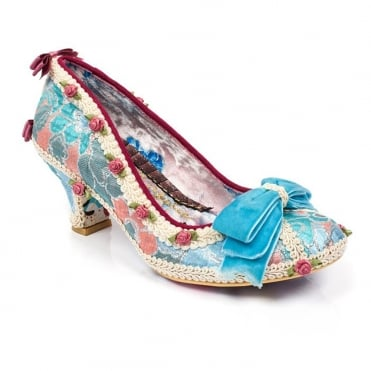 Irregular Choice Bish Bash Bow 4136-49A Womens Court Shoes - Turquoise